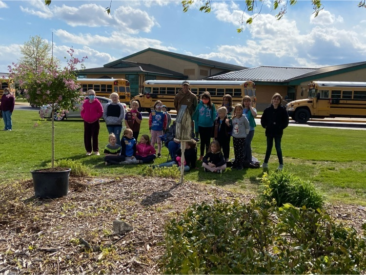 The Girl Scouts of Richland County planted a tree in the butterfly garden at RCES in memory of Mrs. Hahn's father Jerry Dunn and in honor of Mrs. Hahn's mother Joan Dunn who reinstated Girl Scouts in Noble in the 1970s.  Thank you to Todd Bettis for planting the tree.